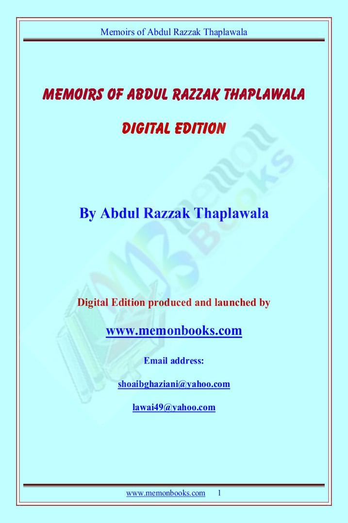 Memoirs of A, Razzak Thaplawala